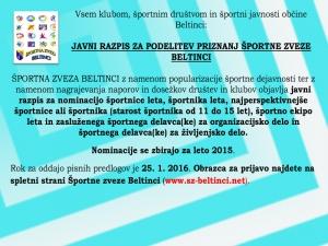 Razpis za športnike občine Beltinci za leto 2015