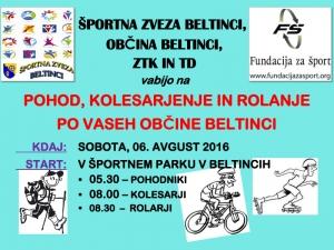 Pohod, rolanje in kolesarjenje po vaseh Občine Beltinci - vabilo